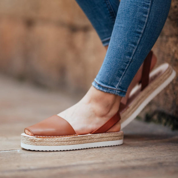 Avarcas Brown Flatforms-Avarcas 101 comfortable leather sandals for women in the USA