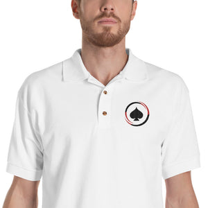All In Poker White Embroidered Polo Shirt