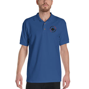 All In Poker Blue Embroidered Polo Shirt