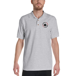 All In Poker Grey Embroidered Polo Shirt