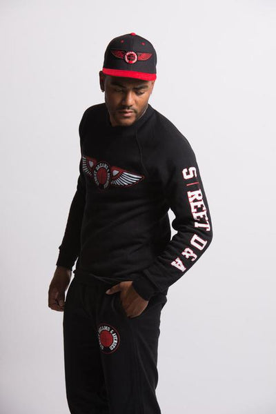 Black Red & White Street D&A Crew Neck Sweater Wing Edition