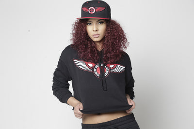 Street D&A Long Sleeve Black/Red Wings Crop Top