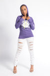 Women's Purple/White Long Sleeve Hooded Original Anvil