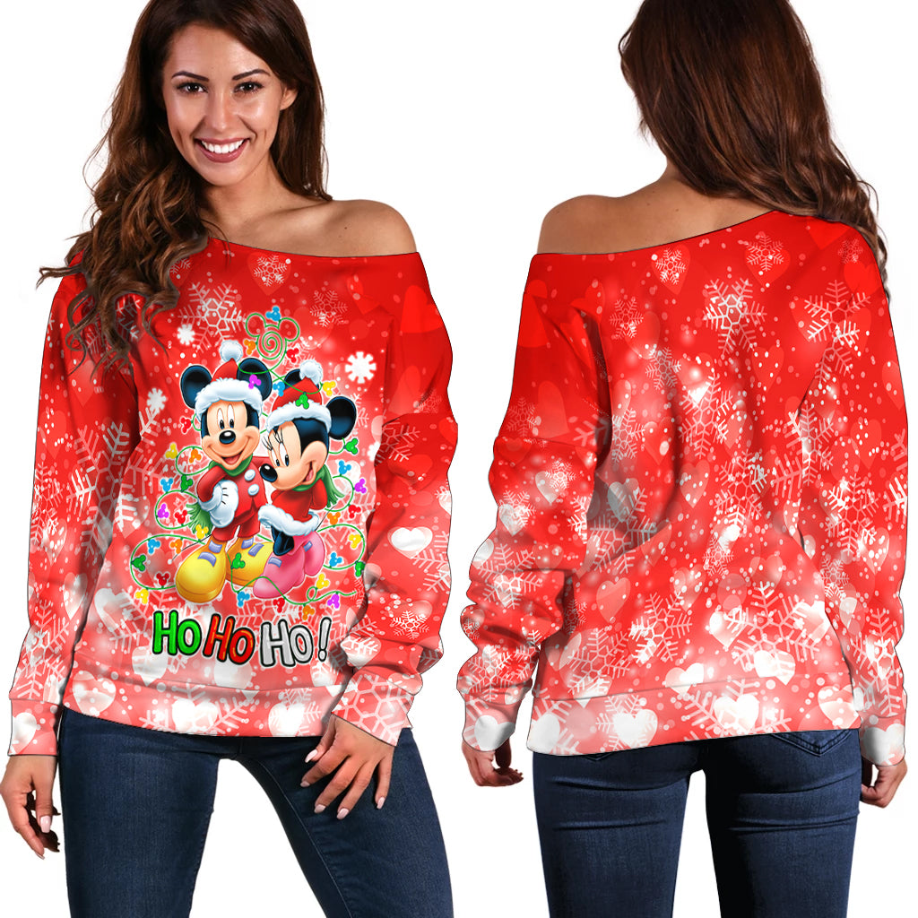 Mickey n Minnie Hohoho Sweater shoulder