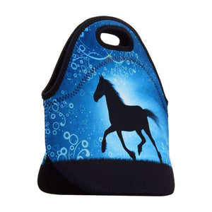 Hot Horse Prints Neoprene Thermal Portable Lunch Bag