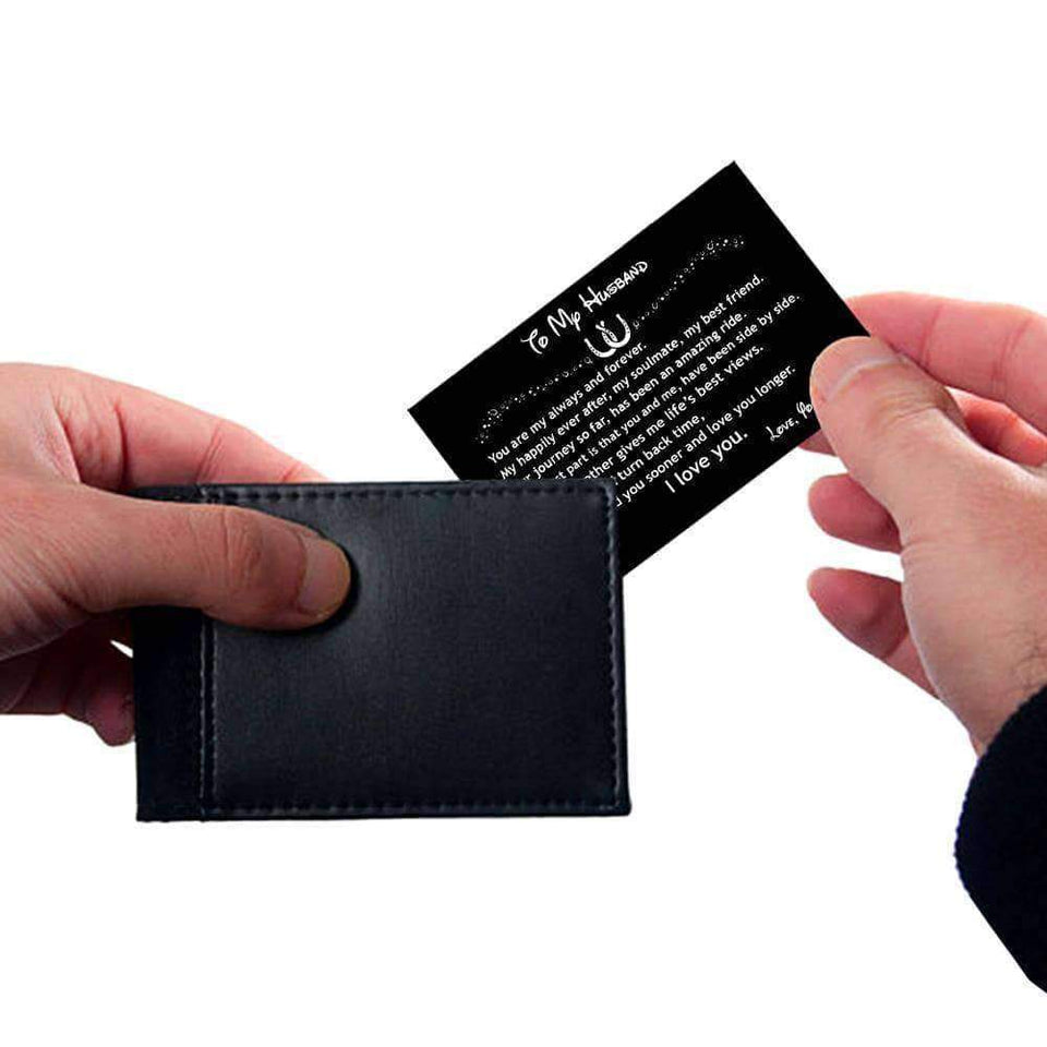 ENGRAVED BLACK WALLET INSERT CARD- TO MY HUSBAND, I LOVE YOU