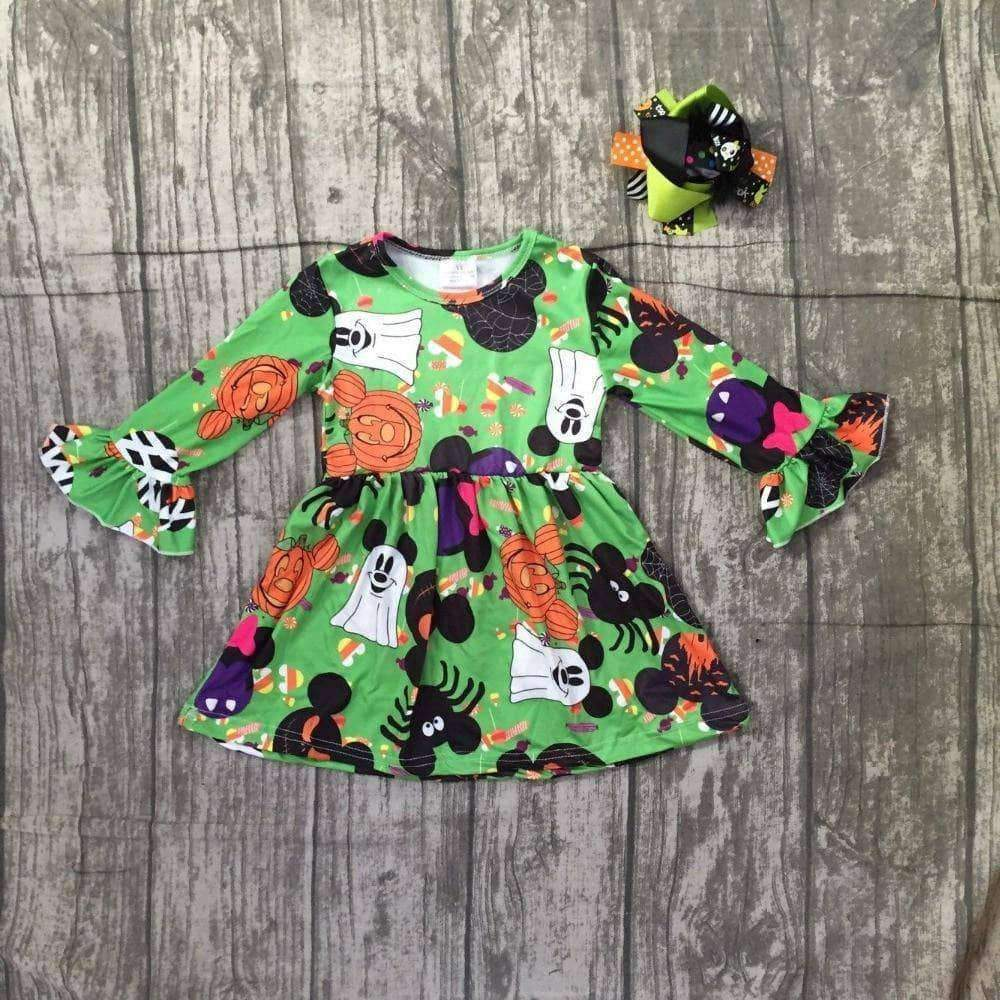 Halloween Green Orange Dress Baby Girls