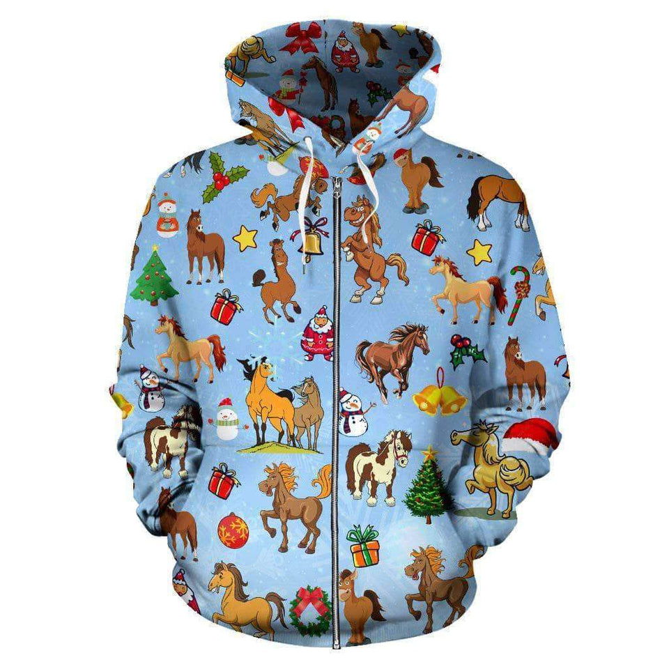 Christmas Horse All Over Zip-UP Hoodie- LT