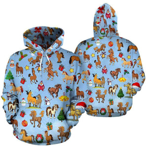Christmas Horse All Over Hoodie- LT