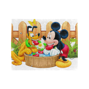 Mickey n Pluto Rectangle Jigsaw Puzzle (Set of 110 Pieces)