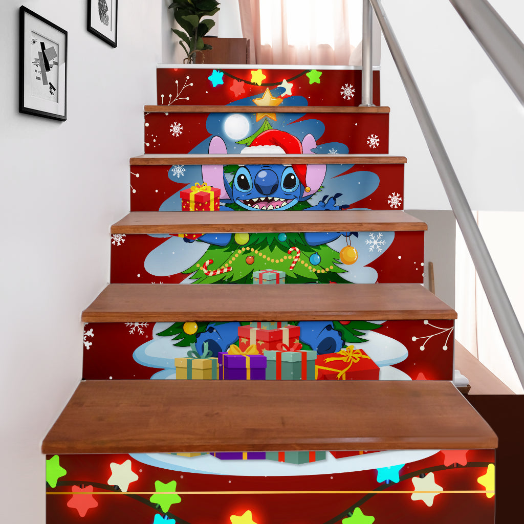 Stitch Christmas Tree Stair Stickers (Set of 6)