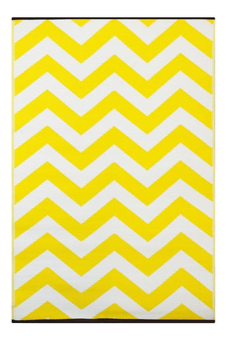 Image of Psychedelia Yellow & White Indoor-Outdoor Reversible Rug cvsonia
