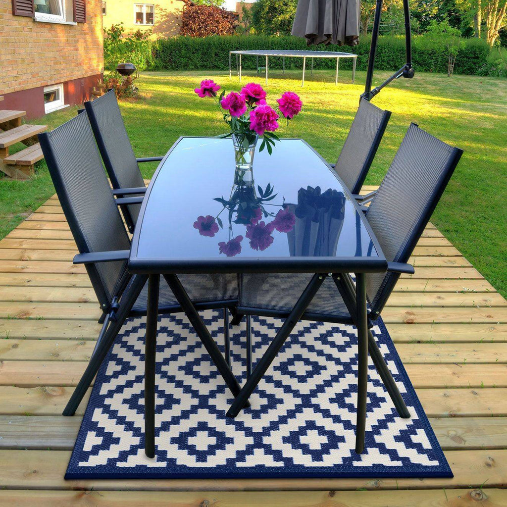 Nirvana Navy Blue & White Indoor-Outdoor Reversible Rug cvsonia
