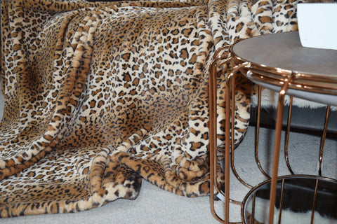 Image of Jaguar Print Faux Fur Throw RUGSANDROOMS