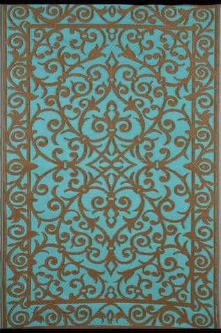 Gala Turquoise & Gold Indoor-Outdoor Reversible Rug cvsonia