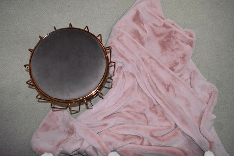 Image of Sunday Pink Faux Fur Throw RUGSANDROOMS