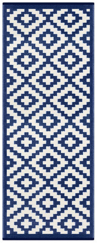 Image of Nirvana Navy Blue & White Indoor-Outdoor Reversible Rug cvsonia
