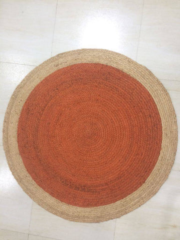 Image of Oculus Handmade Round Jute Rug , Natural Orange cvsonia