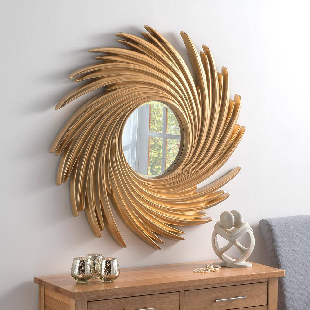 Gold Leaf Sun Swirl Wall Mirror RUGSANDROOMS
