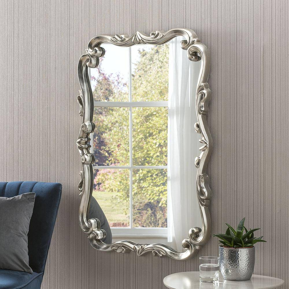 Silver Accent Wall Mirror RUGSANDROOMS