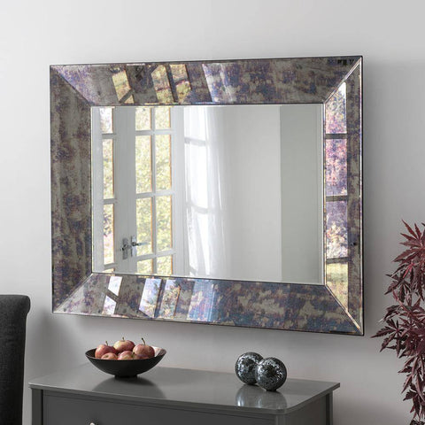 Antique Blue Tint Mirror RUGSANDROOMS