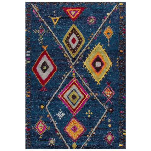 Tribal Blue Area Rug RUGSANDROOMS