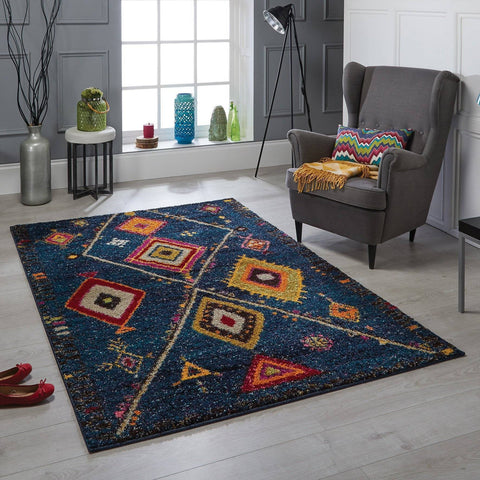 Tribal Blue Area Rug