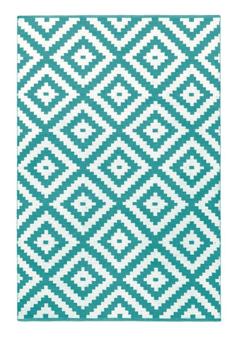 Image of Ava Turquoise Indoor/ Outdoor Reversible Polyester Recycled Fibre Rug RUGSANDROOMS
