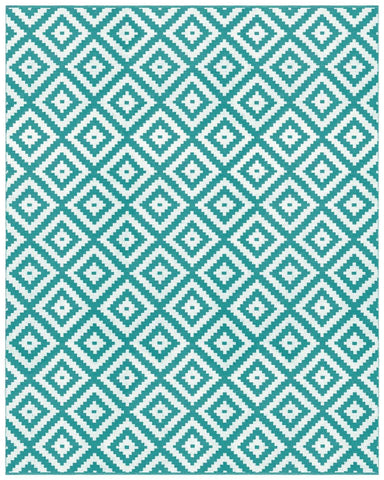 Ava Turquoise Indoor/ Outdoor Reversible Polyester Recycled Fibre Rug RUGSANDROOMS