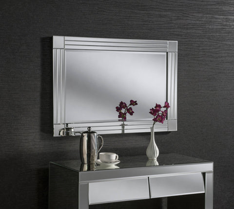Rectangle Ornate Silver Mirror RUGSANDROOMS