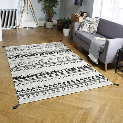 Beni Charcoal Grey Area Rug RUGSANDROOMS