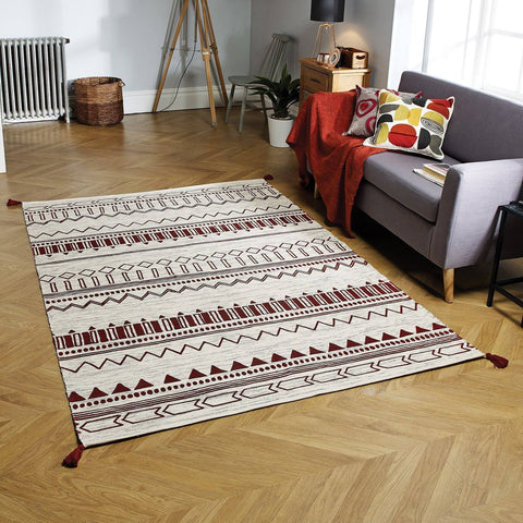 Beni Red Area Rug RUGSANDROOMS