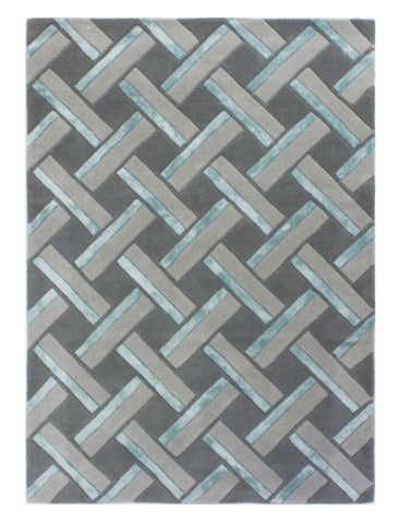 Image of Regina Grey/Duck Egg Area Rug RUGSANDROOMS