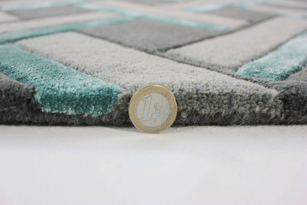 Regina Grey/Duck Egg Area Rug RUGSANDROOMS