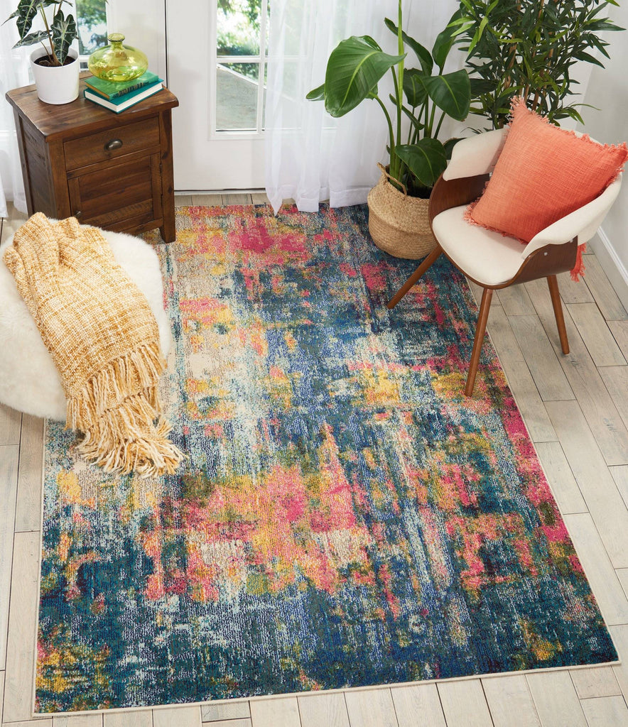 Nourison Blue/Yellow Area Rug RUGSANDROOMS