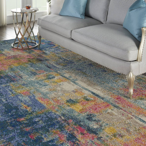 Image of Nourison Blue/Yellow Area Rug RUGSANDROOMS