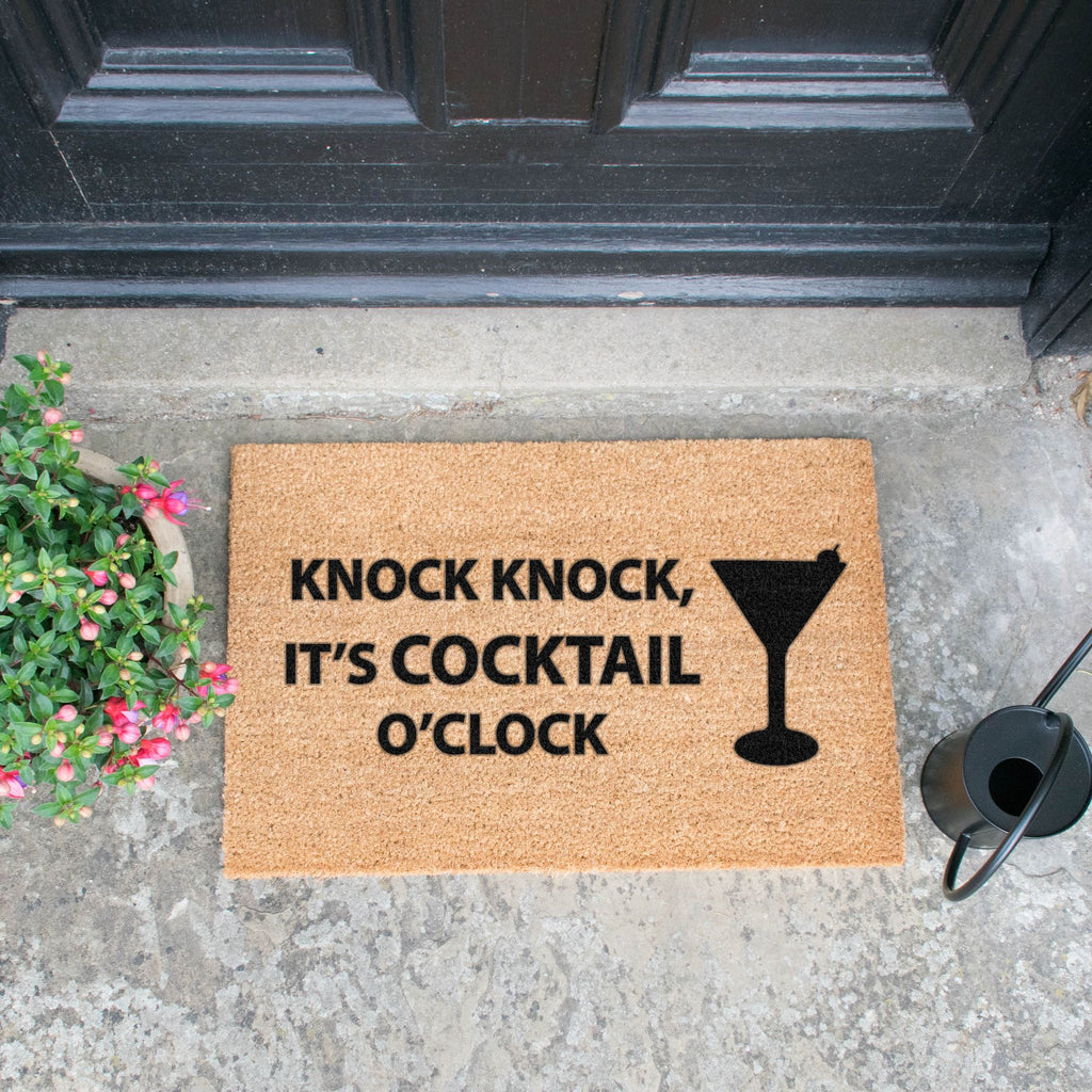 Knock Knock It's Cocktail O'Clock doormat RUGSANDROOMS