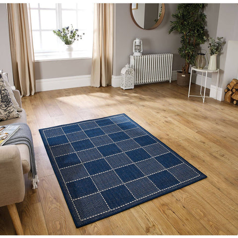 Flat Weave Blue Area Rug RUGSANDROOMS