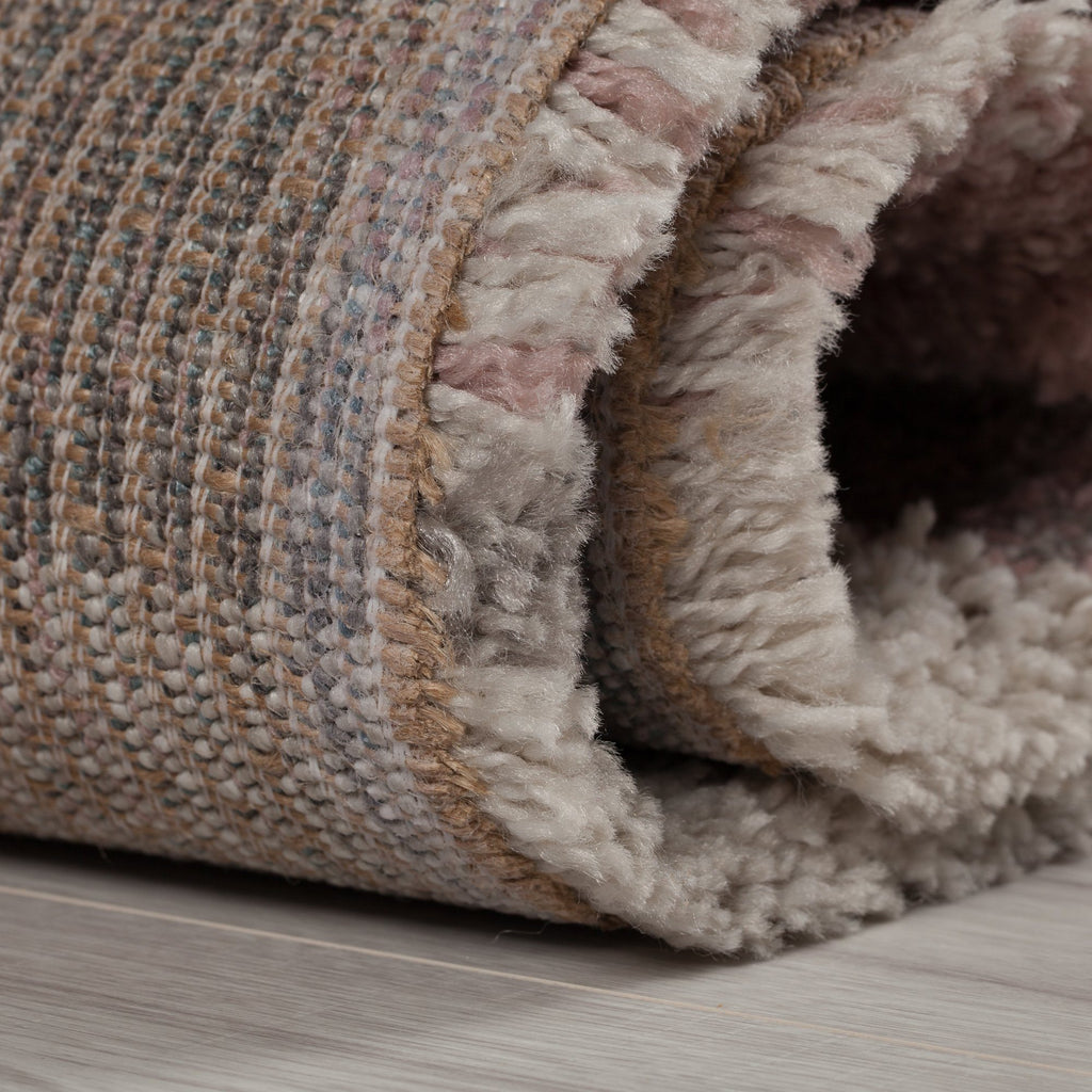 Sophie Pink, Cream & Grey Area Rug RUGSANDROOMS