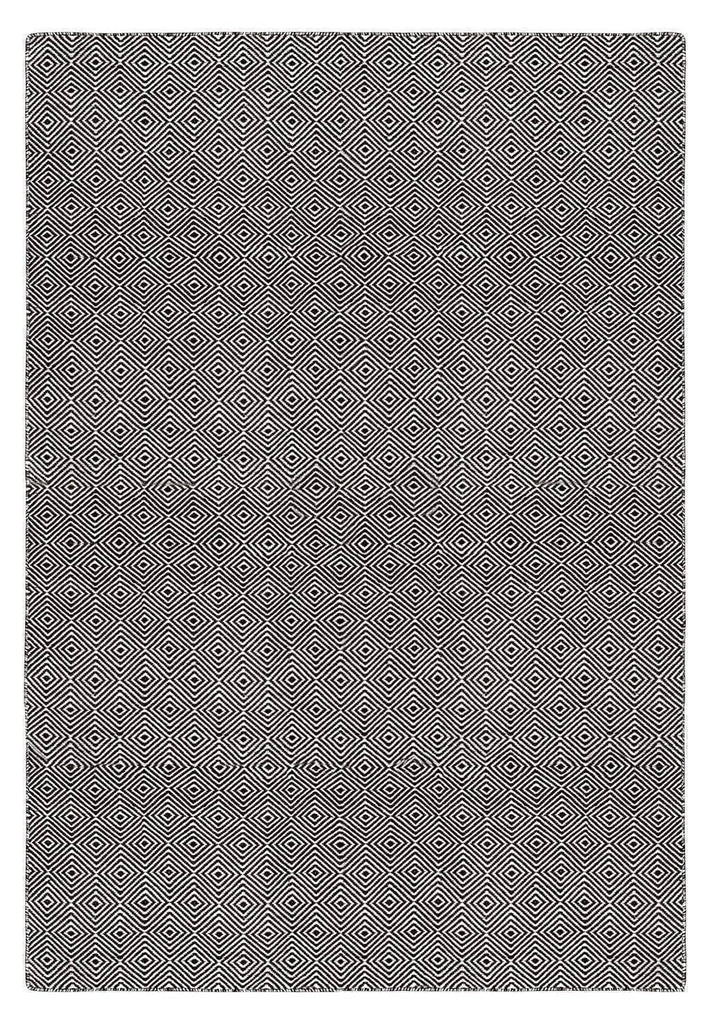 Solitaire Black Indoor/ Outdoor Reversible Polyester Recycled Fibre Rug RUGSANDROOMS