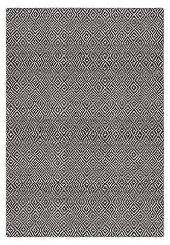 Image of Solitaire Black Indoor/ Outdoor Reversible Polyester Recycled Fibre Rug RUGSANDROOMS