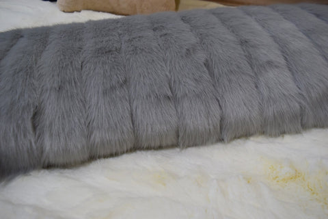 Image of Silver Decking Faux Fur Throw RUGSANDROOMS