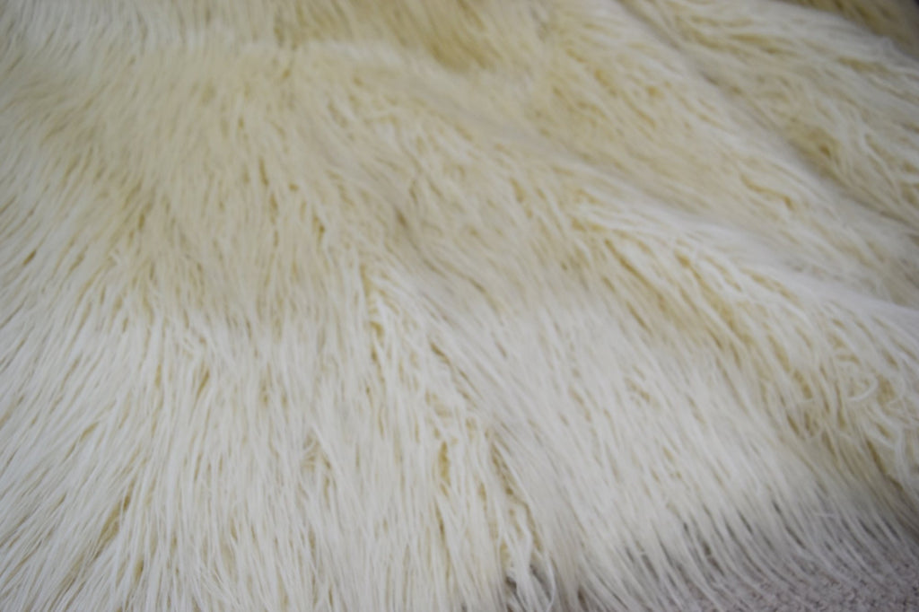 Afghan Ivory Faux Fur Throw RUGSANDROOMS