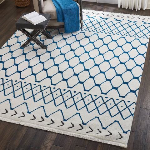 Barclay Butera Kamala White/Blue Area Rug RUGSANDROOMS