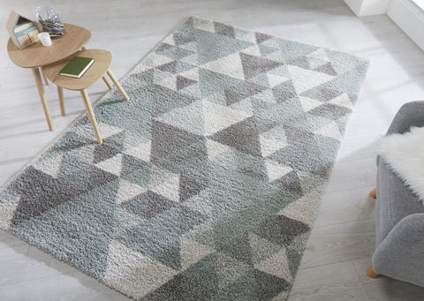 Sophie Mint, Cream & Grey Area Rug RUGSANDROOMS
