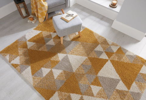 Sophie Ochre, Cream & Grey Area Rug RUGSANDROOMS