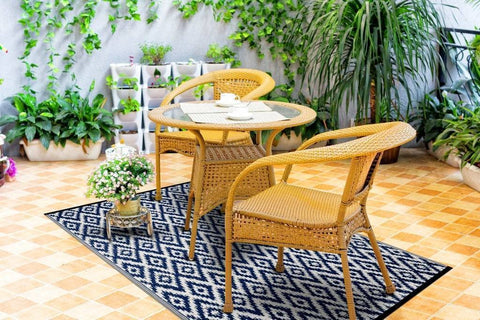 Image of Espero Blue & White Indoor-Outdoor Reversible Rug cvsonia