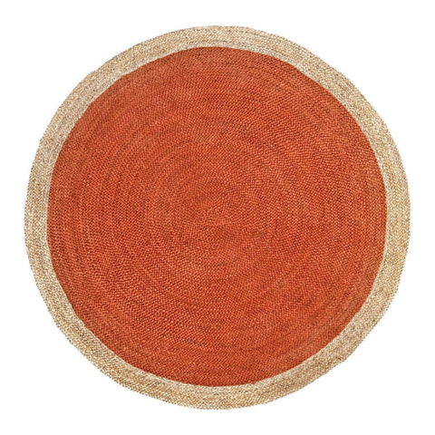 Oculus Handmade Round Jute Rug , Natural Orange cvsonia