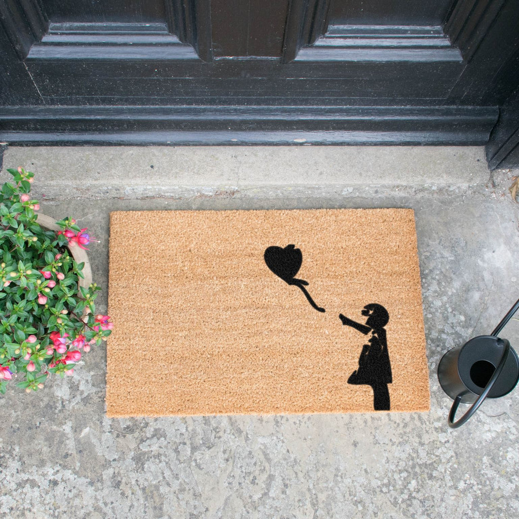 Girl with a Balloon Graffiti Doormat RUGSANDROOMS