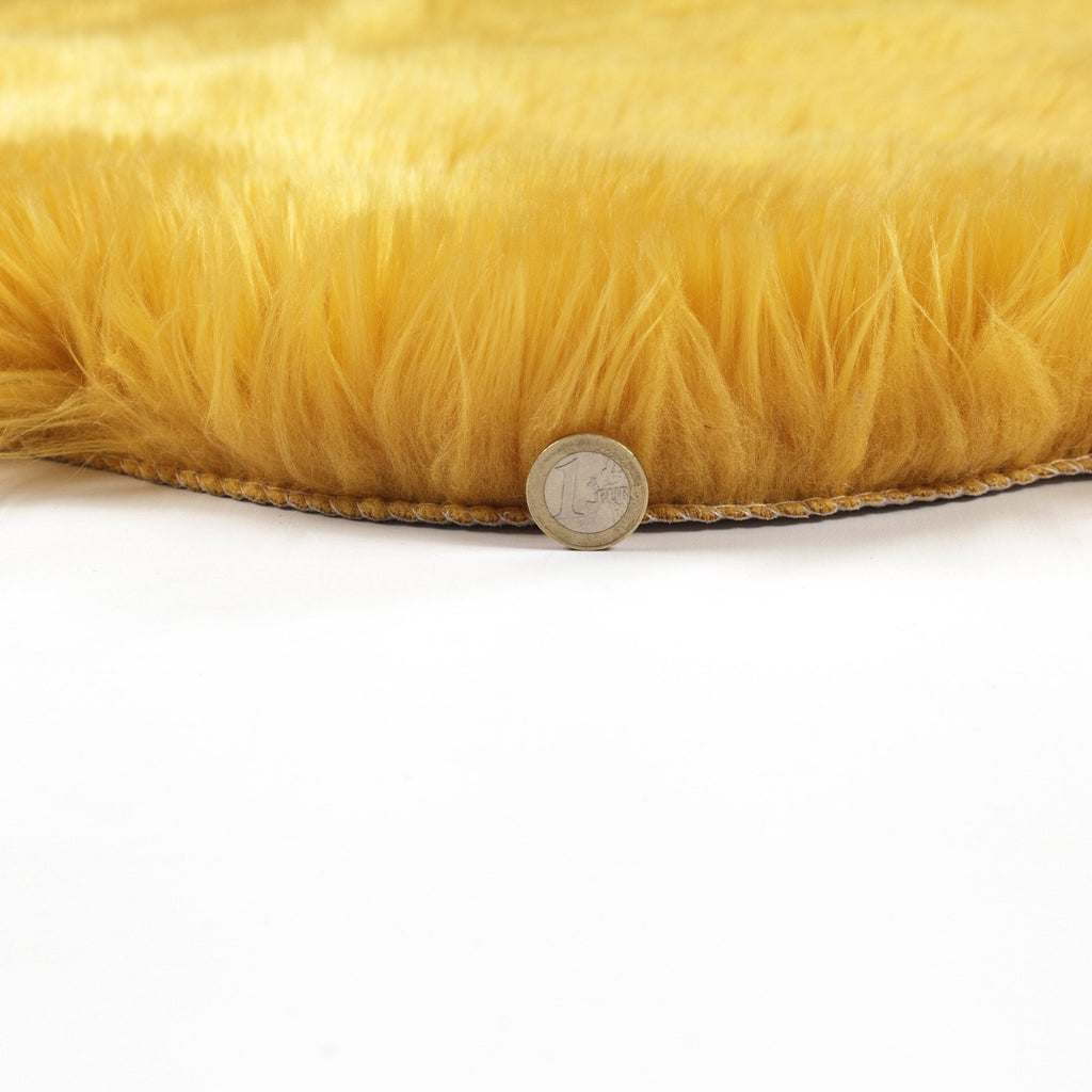 Ochre Faux Fur Sheep Skin RUGSANDROOMS